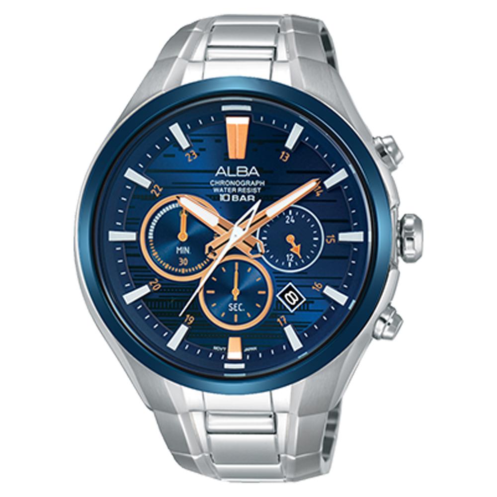ALBA 雅柏 三眼計時男錶 不鏽鋼錶帶 藍 防水100米 日期顯示 分段時間 AT3C05X1