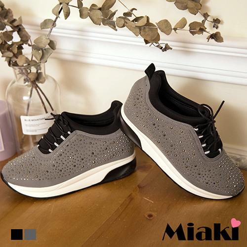 【Miaki】休閒鞋韓風鉚釘厚底內增高包鞋 (黑色 / 灰色)