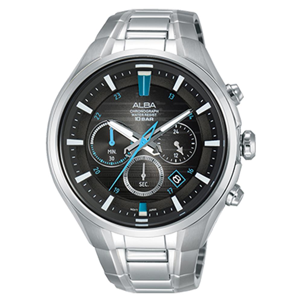ALBA 雅柏 三眼計時男錶 不鏽鋼錶帶 漸層黑 防水100米 日期顯示 分段時間 AT3C09X1