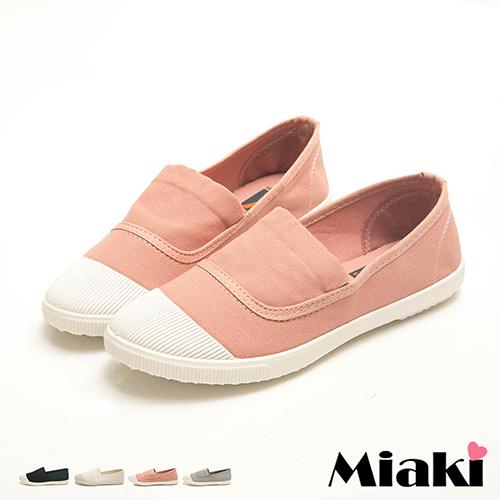 【Miaki】帆布鞋校園暢銷平底休閒包鞋 (粉 / 白 / 灰 / 黑)