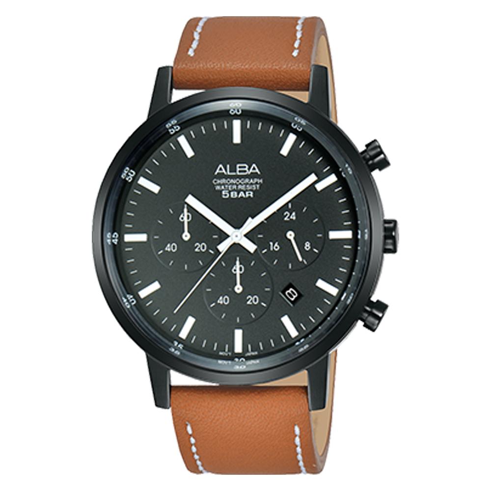 ALBA 雅柏 三眼計時男錶 皮革錶帶 深灰 防水50米 日期顯示 分段時間 AT3C57X1