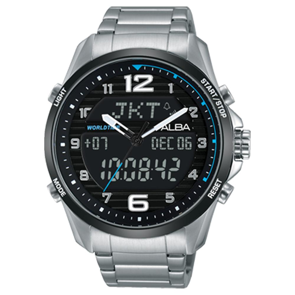 ALBA 雅柏 雙顯男錶 不鏽鋼錶帶 黑 防水100米 日期/星期/月/年顯示 分段時間 AZ4001X1