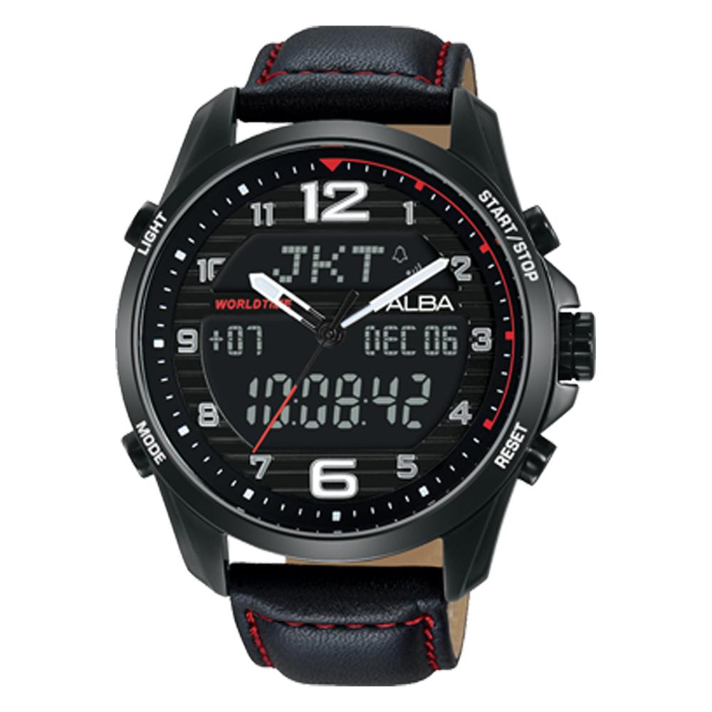 ALBA 雅柏 雙顯男錶 皮革錶帶 黑 防水100米 日期/星期/月/年顯示 分段時間 AZ4009X1