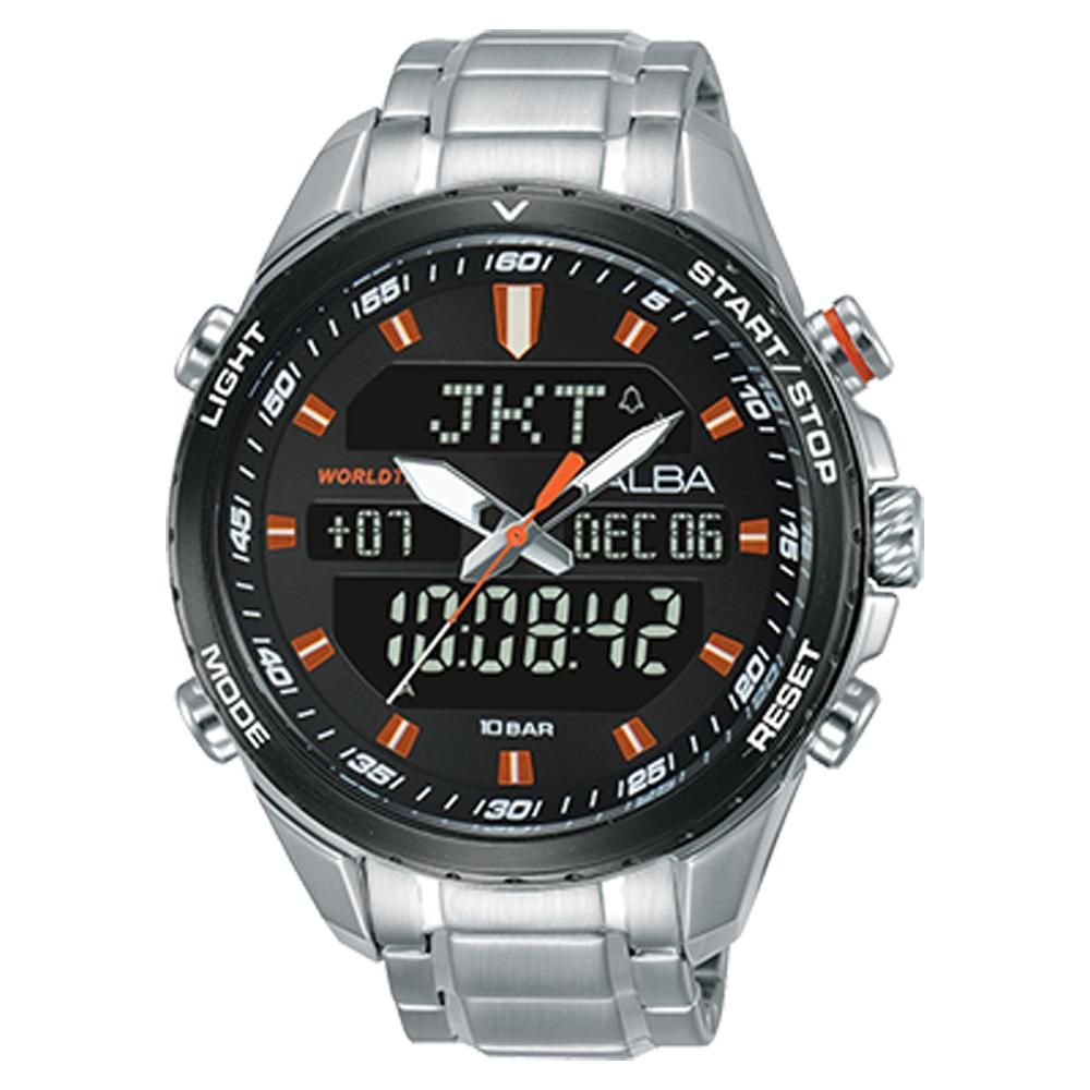 ALBA 雅柏 雙顯男錶 不鏽鋼錶帶 黑 防水100米 日期/星期/月/年顯示 分段時間 AZ4057X1