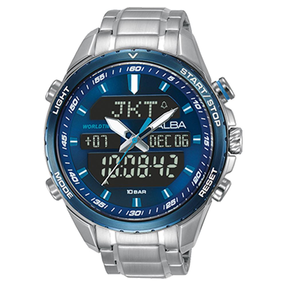 ALBA 雅柏 雙顯男錶 不鏽鋼錶帶 藍 防水100米 日期/星期/月/年顯示 AZ4059X1