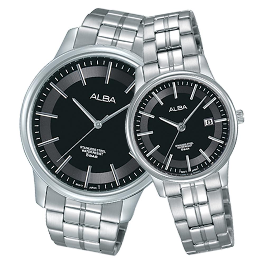 ALBA 雅柏 石英男錶 不鏽鋼錶帶 黑 防水50米 日期顯示 AS9D17X1+AH7N01X1