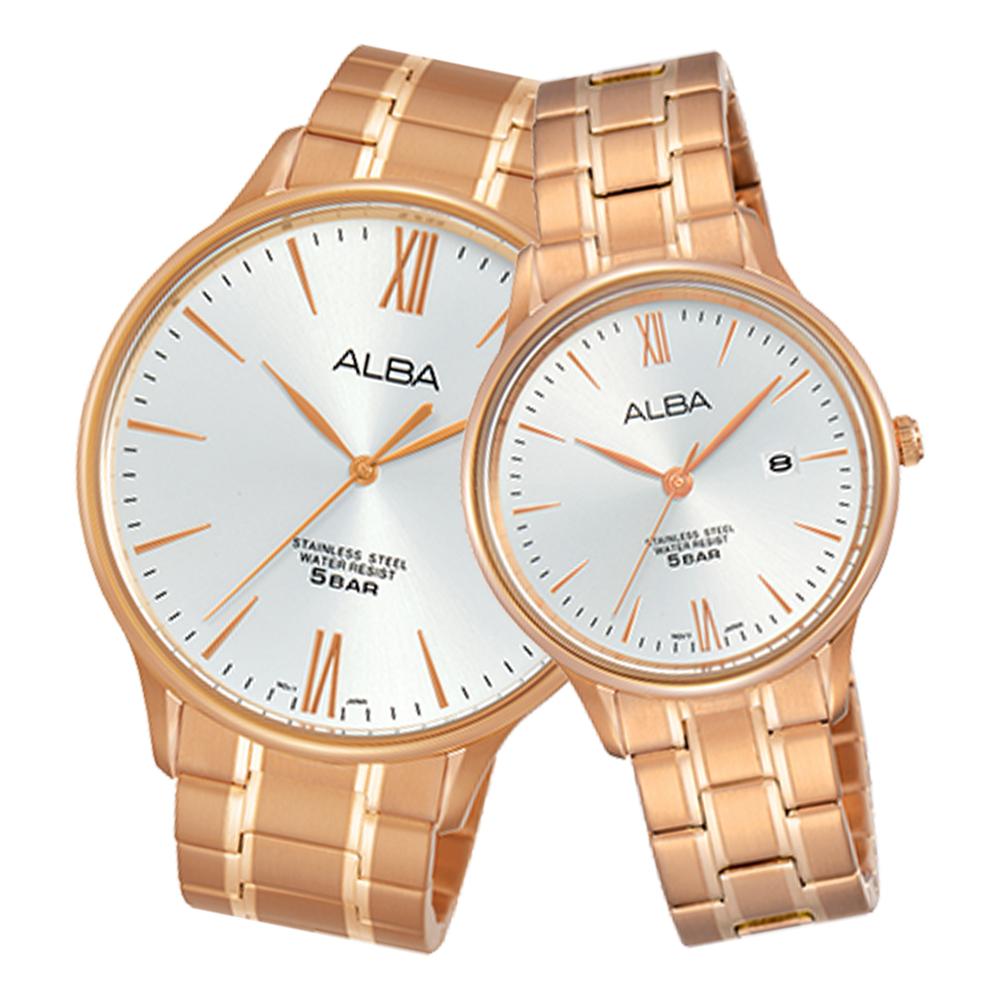 ALBA 雅柏 石英情侶對錶 不鏽鋼錶帶 銀白 防水50米 日期顯示 AS9E04X1+AH7N80X1