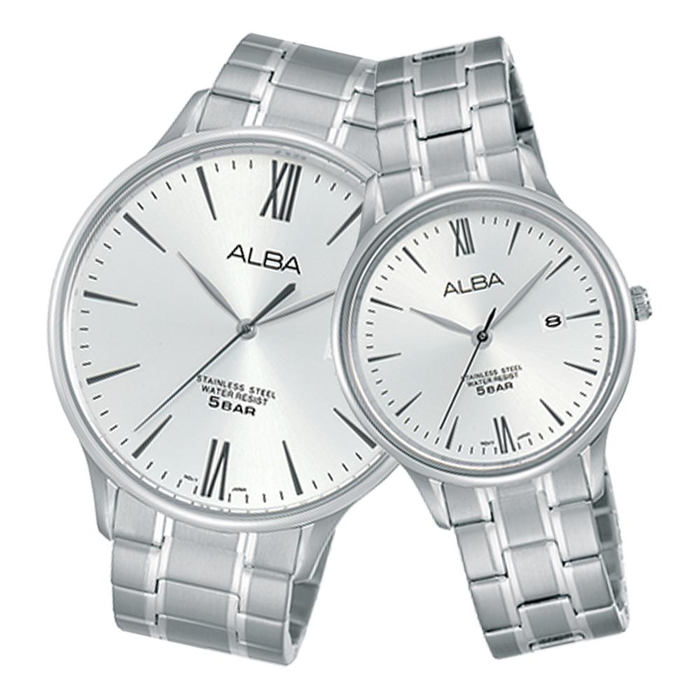 ALBA 雅柏 石英情侶對錶 不鏽鋼錶帶 銀白 防水50米 日期顯示 AS9E13X1+AH7N89X1