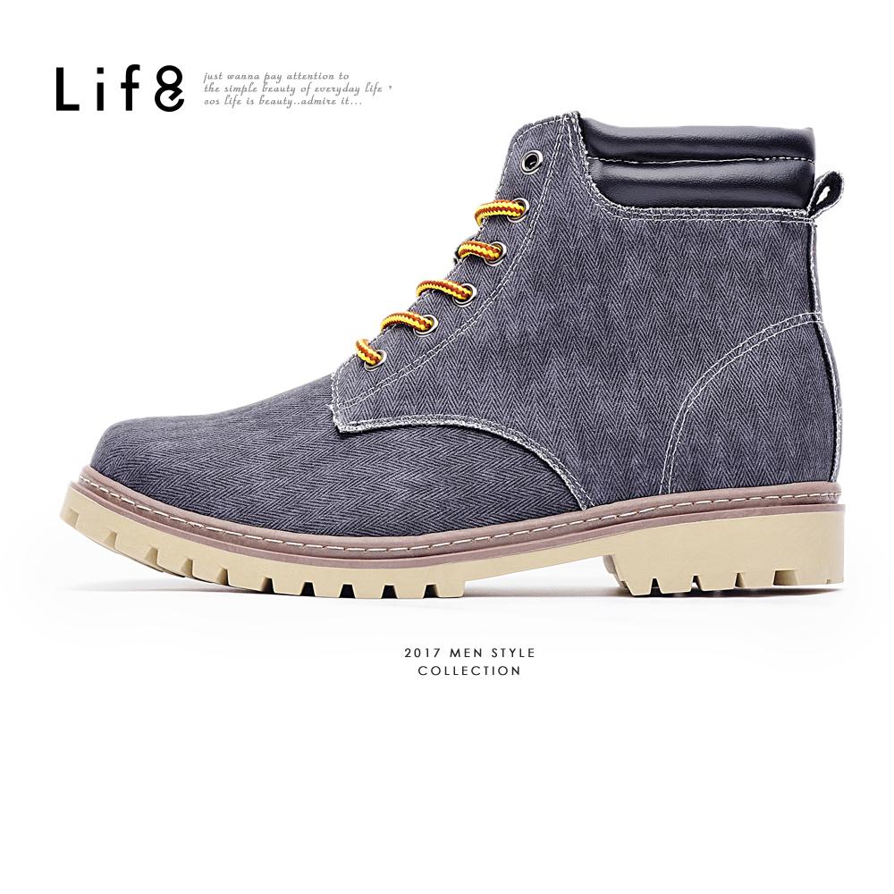 【Life8】Casual 率性水洗帆布 簡約六孔短靴-09739-深藍