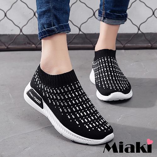 【Miaki】休閒鞋穿搭潮流厚底運動襪鞋 (黑色)