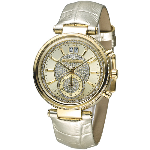Michael Kors 奢華典雅晶鑽計時腕錶 MK2444