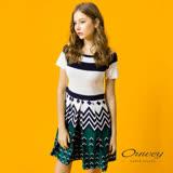【OUWEY 歐薇】優雅幾何條紋拼接洋裝