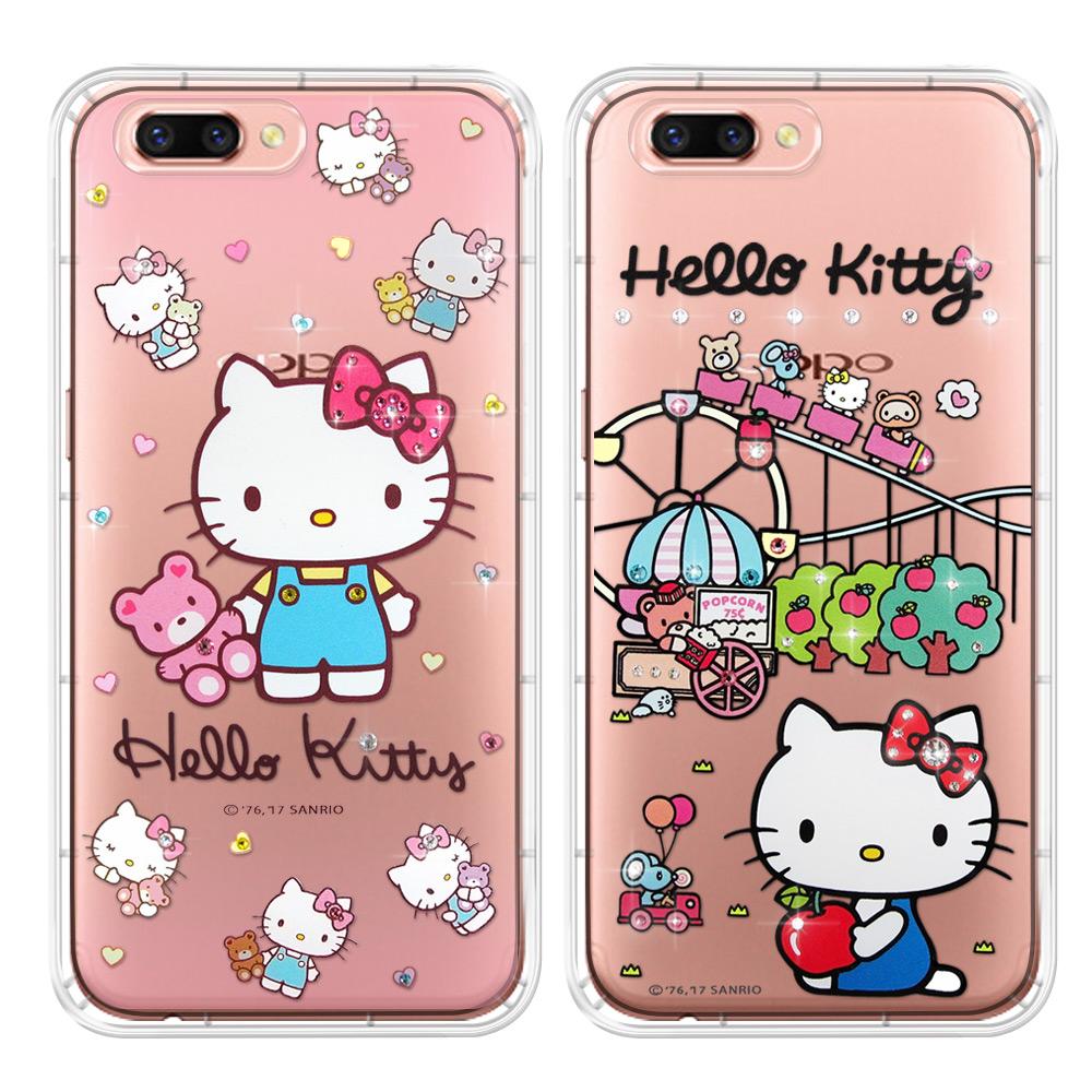 三麗鷗授權 Hello Kitty OPPO R11 5.5吋 夢幻童話 彩鑽氣墊保護殼(遊樂園.愛戀小熊)