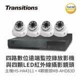 【全視線】4路監視監控錄影主機+LED紅外線攝影機(HS-HA4311+MB-AHD872H-4×4)