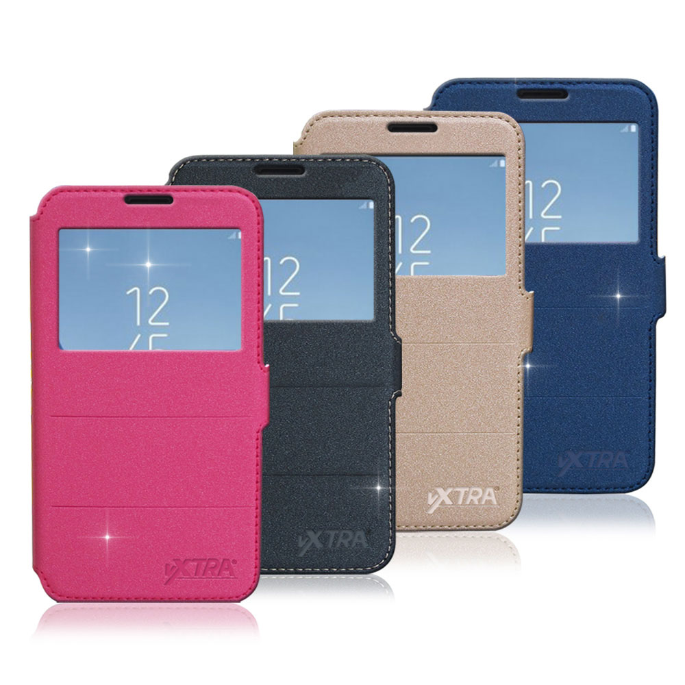 VXTRA Samsung Galaxy J7 Pro 5.5吋 J730 經典金莎紋 商務視窗皮套