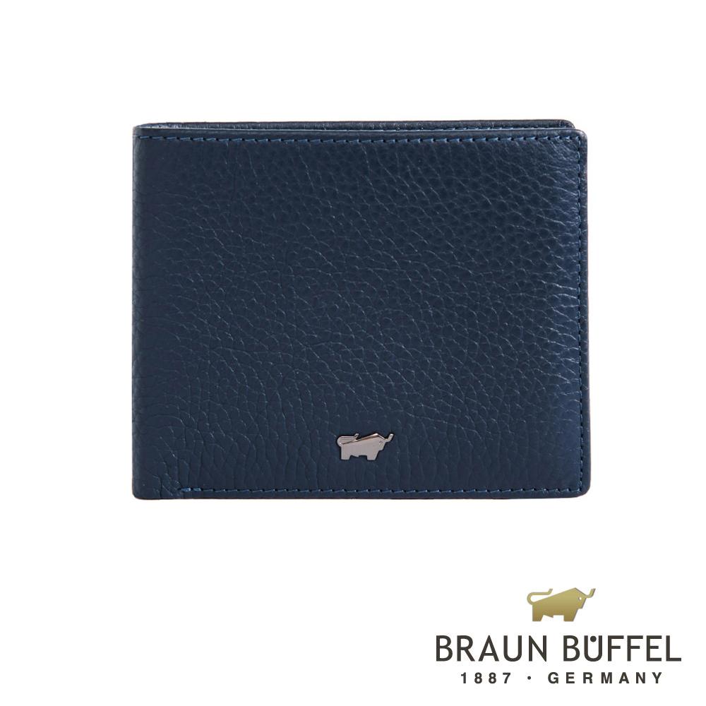 【BRAUN BUFFEL】德國小金牛-佩雅系列4卡零錢袋皮夾(沉穩藍)BF303-315-MAR