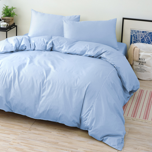 GOLDEN-TIME-純色主義-200織紗精梳棉-薄被套床包組(水藍-雙人)