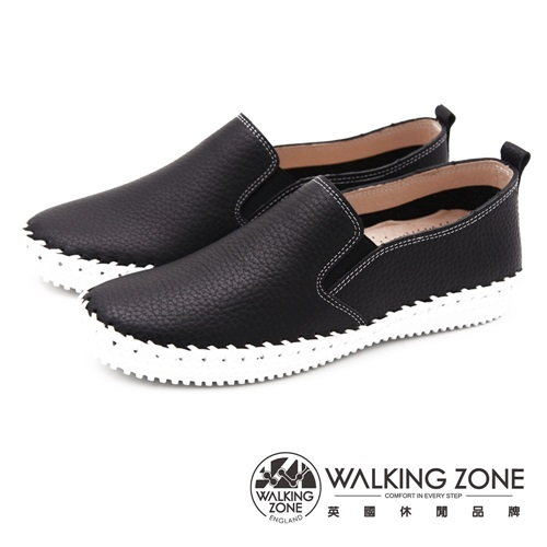 WALKING ZONE 極致舒適工藝車縫休閒 女鞋-經典黑(另有經典白)