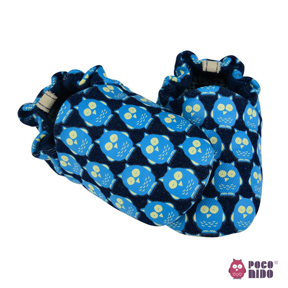英國 POCONIDO 純手工柔軟嬰兒鞋 (黑色丹寧貓頭鷹)