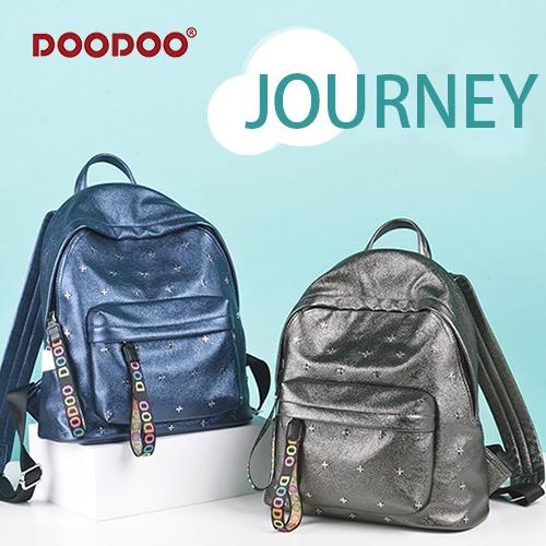 【doodoo包包】7065 新款韓版 泛銀光十字鉚釘 時尚動感後背包