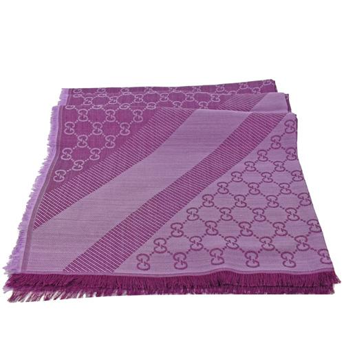 GUCCI  經典雙G緹花羊毛絲綢披肩圍巾.深紫紅