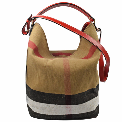 BURBERRY 經典格紋棉麻兩用水桶包.紅邊 來自星星的你 千頌伊款