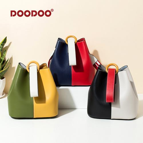 【doodoo包包】7557 新款韓版拼色雙面料 寬肩帶百搭斜背大容量水桶包