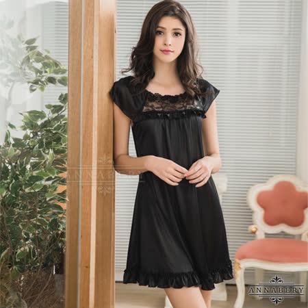 Annabery魅黑系 小蓋袖柔緞性感睡衣