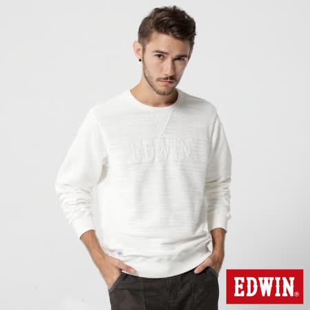 EDWIN 貼布繡花長袖T恤-男-米白