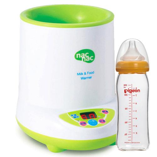 Nac Nac 微電腦多功能溫奶器+貝親PIGEON寬口母乳實感玻璃奶瓶240ml
