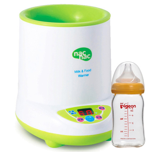 Nac Nac 微電腦多功能溫奶器+貝親PIGEON寬口母乳實感玻璃奶瓶160ml/橘