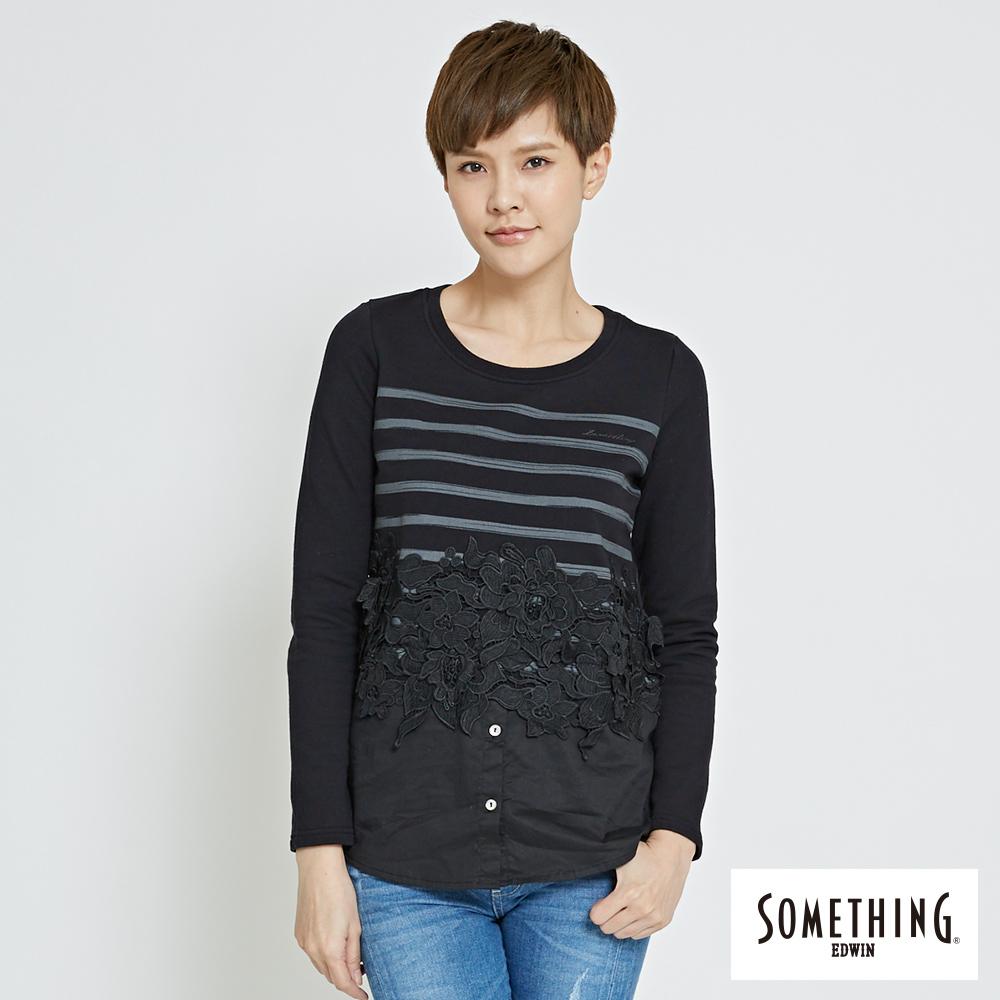 SOMETHING 蕾絲壓花假兩件長袖T恤-女-黑色