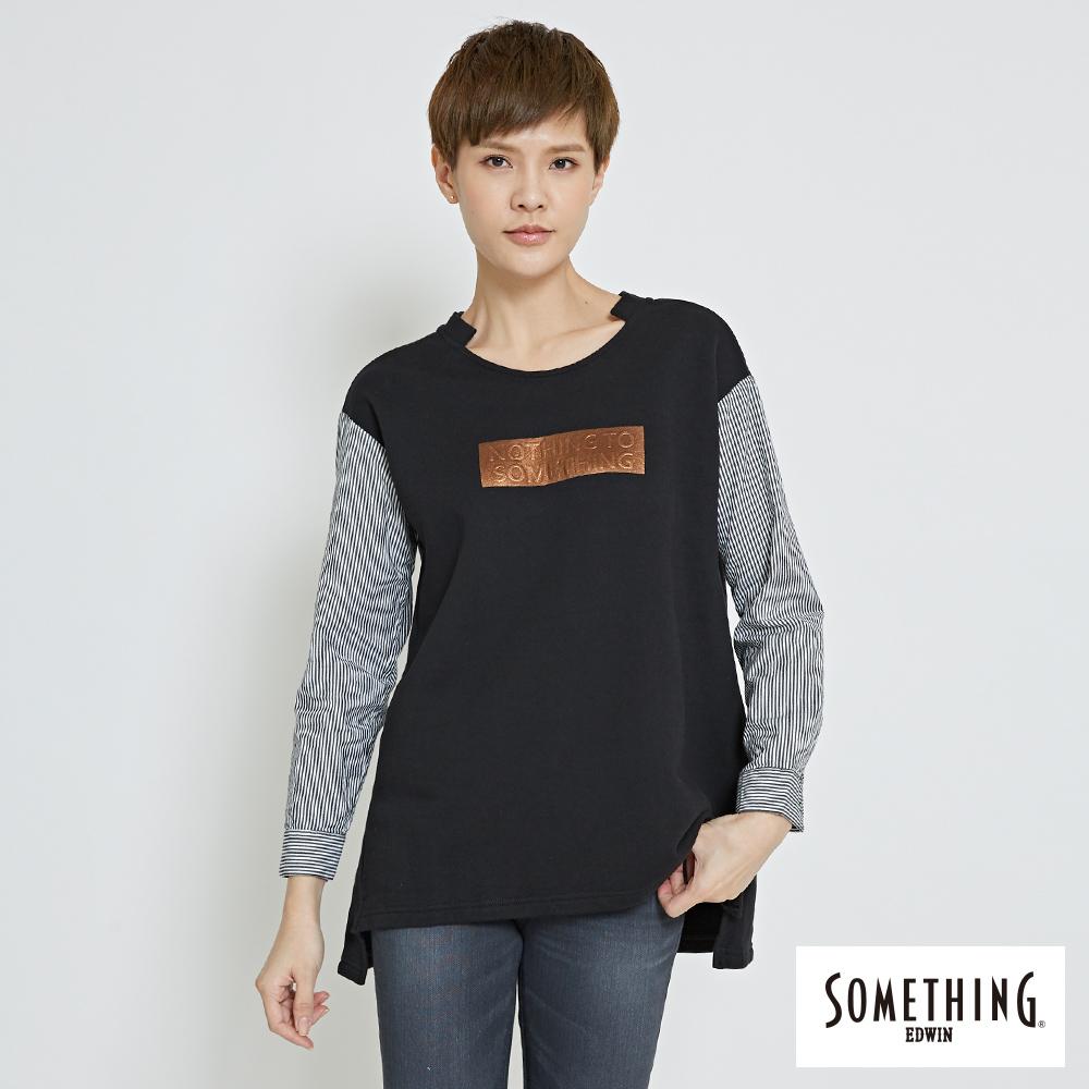 SOMETHING 休閒拼接圓領長袖T恤-女-黑色
