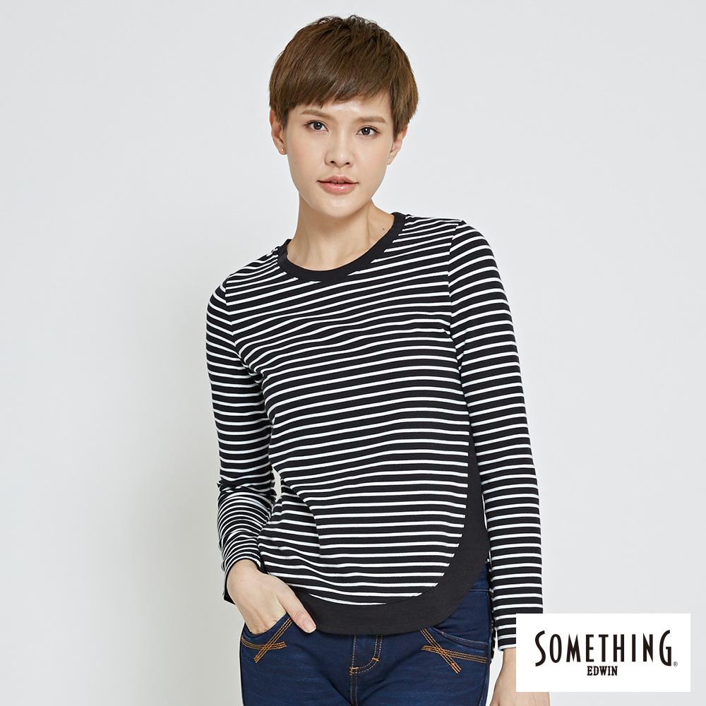 SOMETHING 條紋剪接圓領長袖T恤-女-黑色