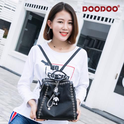 【doodoo包包】7129 簍空鉚釘搭萌萌熊時尚休閒旅行包