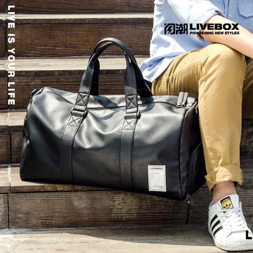 【閃潮】皮質素面出差大容量手提旅行包 健身包 商務單肩側背包 S-027-B-1 (黑)/個