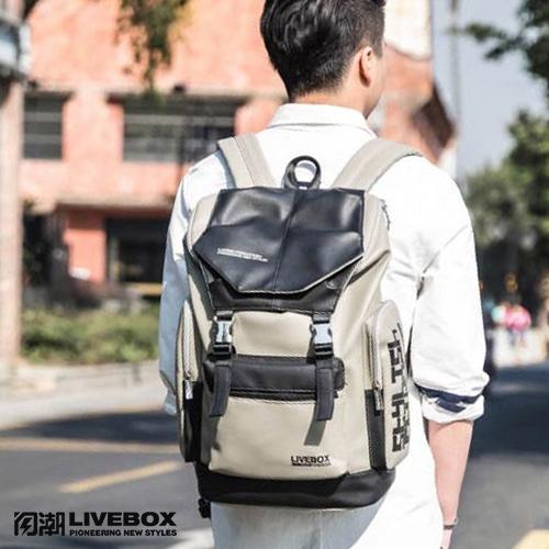 【閃潮】超軟PU革雙色休閒運動大容量英倫風格旅行學院後背包