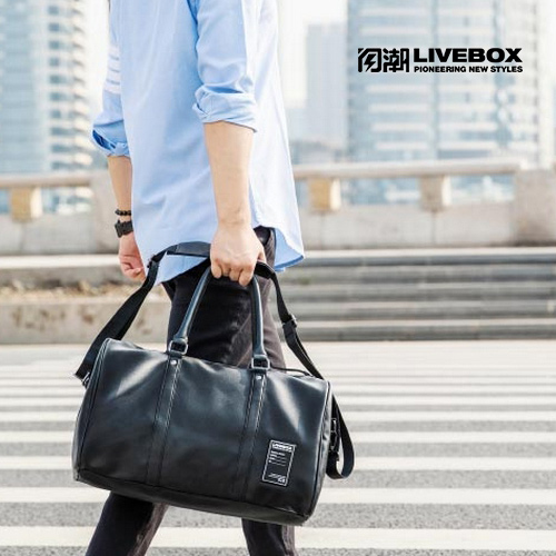 【閃潮】簡約男用出差 休閒旅行 手提商務 健身 單肩側背包 S-031-B-1 (黑)/個