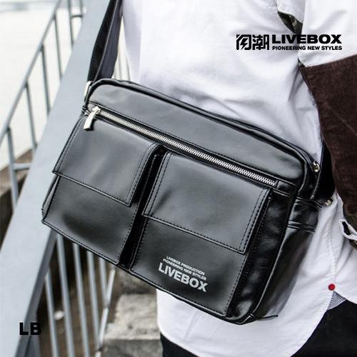 【閃潮】日韓版個性休閒PU多口袋郵差單肩側背包B-394-B-1 (黑) / 個