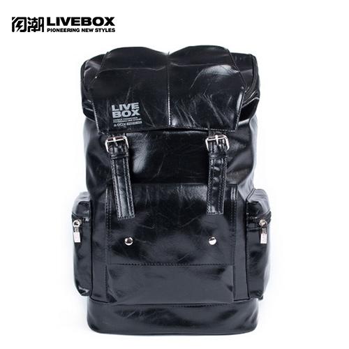 【閃潮】韓版軟皮質街頭機車旅行大學生個性潮男後背包 B-259-B-2 (黑) / 個