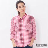 【TOP GIRL】長版格子襯衫-女(格子紅)