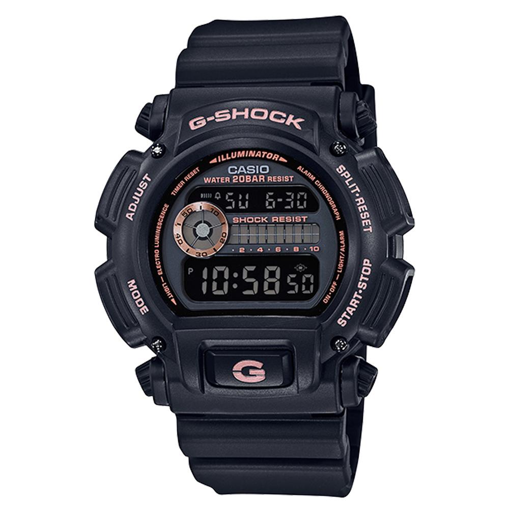 G-SHOCK 經典街頭時尚 電子運動男錶 樹脂錶帶 黑X玫瑰金 防水200米 DW-9052GBX-1A4