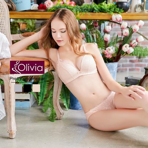 【Olivia】無鋼圈羽毛蕾絲集中聚攏內衣褲套組-膚色
