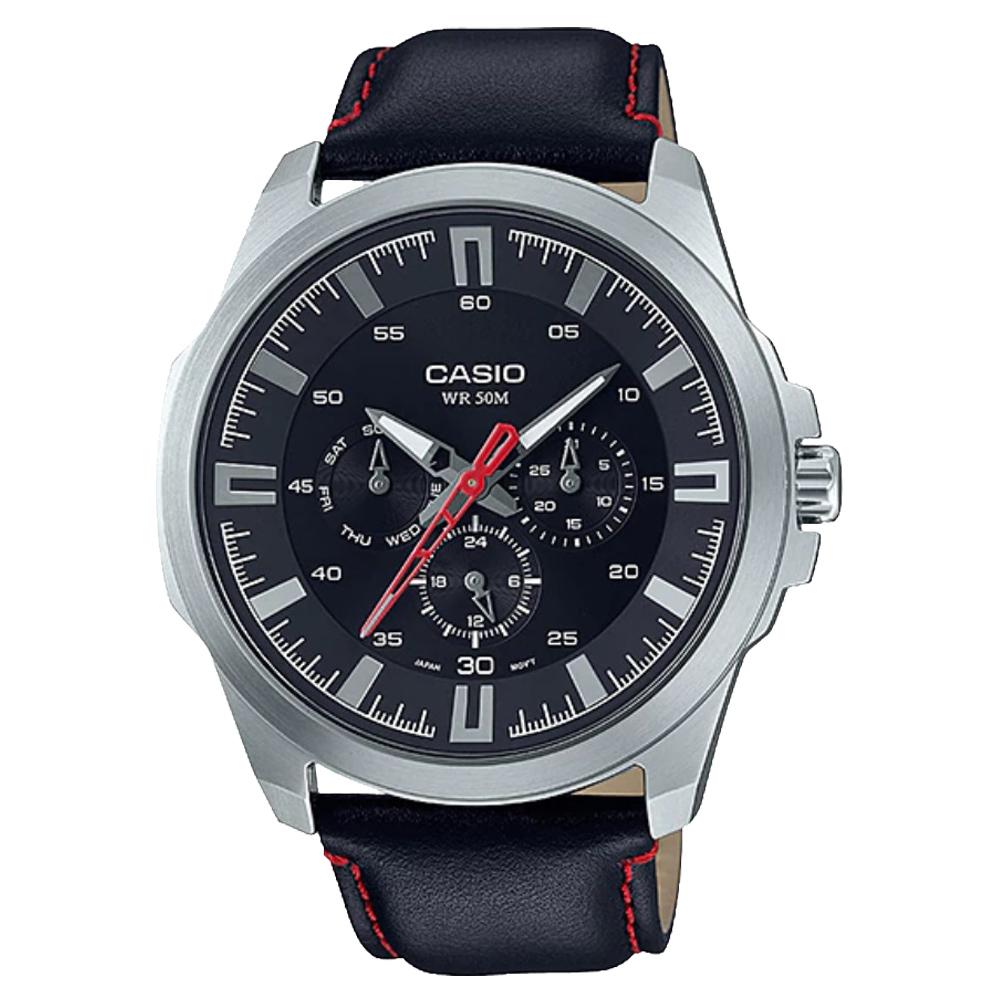 CASIO 卡西歐 三眼男錶 皮革錶帶 黑 藍 銀白 防水50米 滑動式秒針 MTP~SW