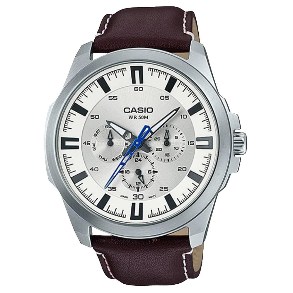 CASIO 卡西歐三眼男錶 皮革錶帶 黑/藍/銀白 防水50米 滑動式秒針  MTP-SW310L-7A