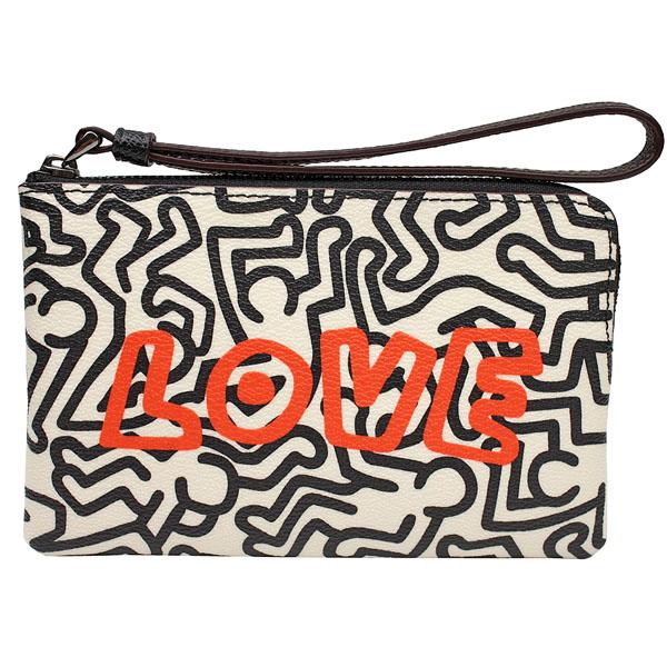 【COACH】Keith Haring聯名PVC拉鍊萬用手拿包(黑白/LOVE)