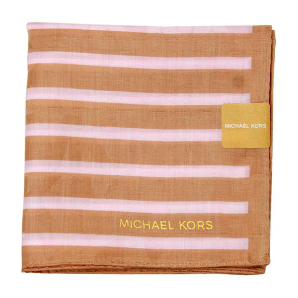 【MICHAEL KORS】新款時尚橫紋方型帕領巾(霧金)