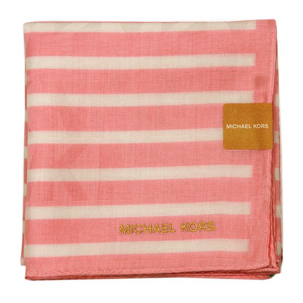 【MICHAEL KORS】新款時尚橫紋方型帕領巾(粉))