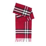 【BURBERRY】基本款經典格紋喀什米爾圍巾(梅紅色)