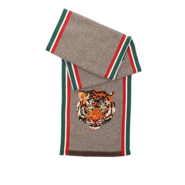 【GUCCI】老虎頭立體刺繡羊毛/CASHMERE圍巾